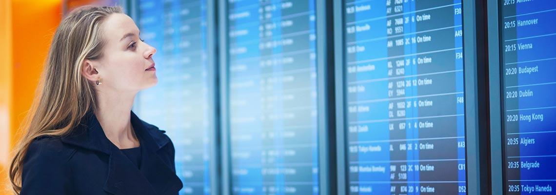 Woman looking at digital signage