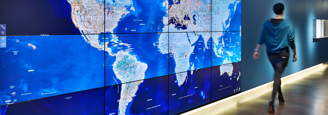 video wall showing map